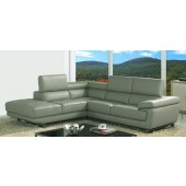 Valencia Taupe Grey Leather Corner Sofa Left Hand Facing